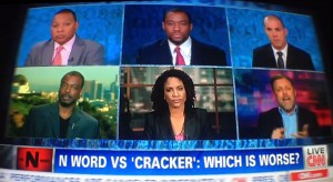 "Left to right from the top: Wynton Marsalis, Marc Lamont Hill, Michael Skolnik; LeVar Burton, Rochelle Oliver and Tim Wise on the CNN special ""The N Word"" with host Don Lemon."